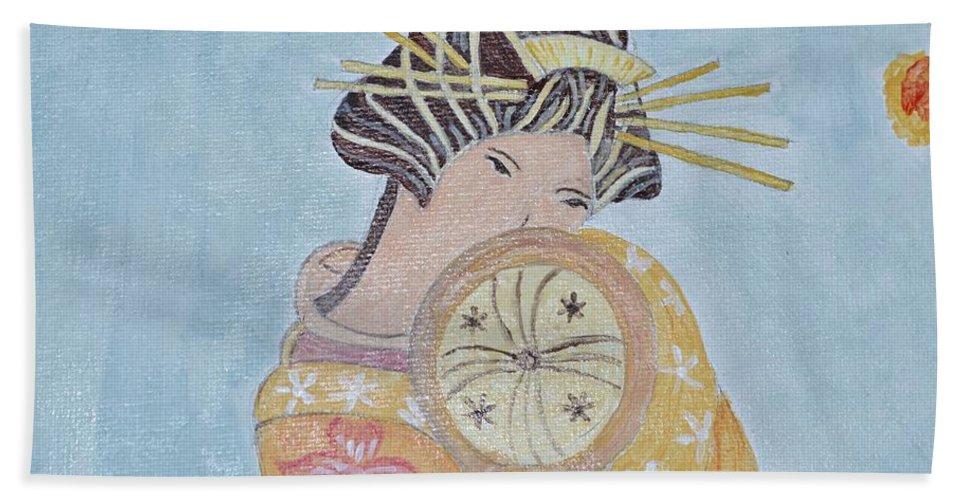 Miki Bath Sheet featuring the painting Rika by Sonali Gangane
