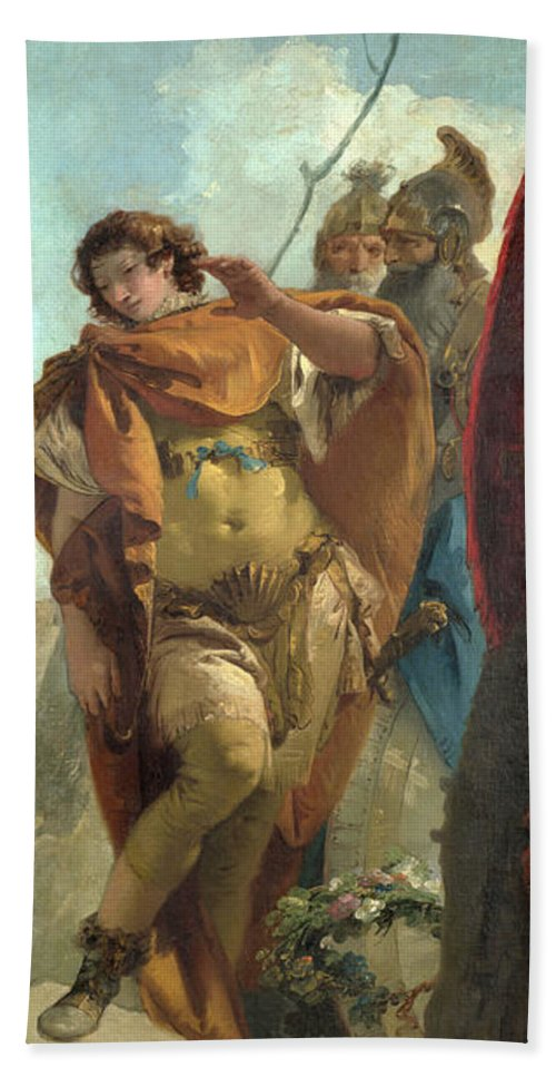 Giovanni Battista Tiepolo Hand Towel featuring the painting Rinaldo Turning In Shame From The Magic Shield by Giovanni Battista Tiepolo