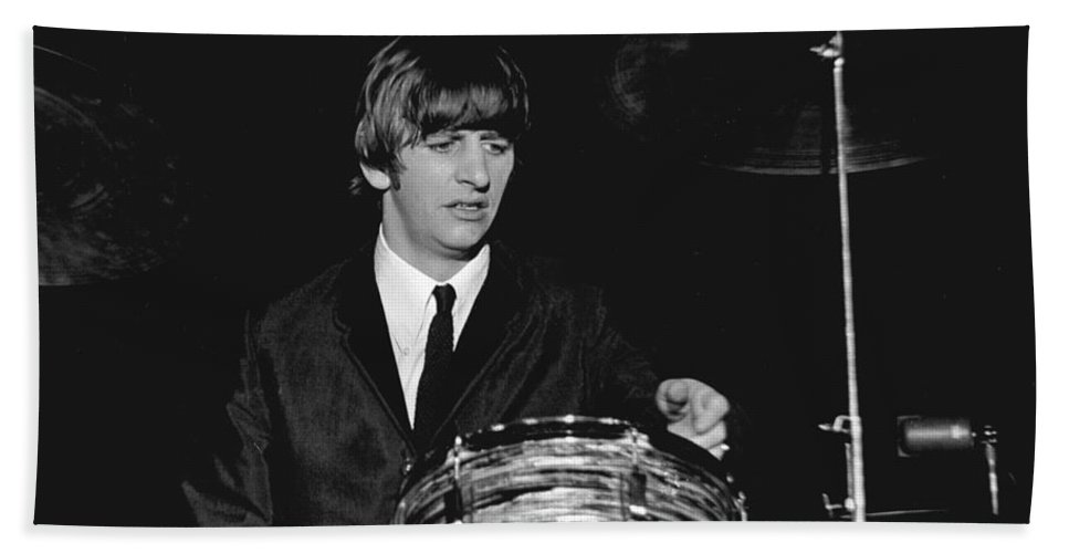 Beatles Bath Towel featuring the photograph Ringo Starr, Beatles Concert, 1964 by Larry Mulvehill