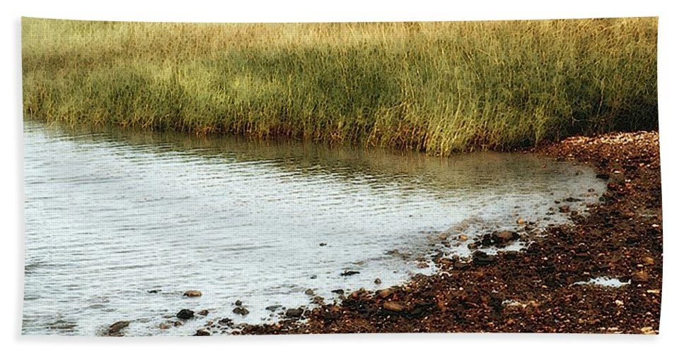 Marsh Bath Sheet featuring the painting Rippled Water Rippled Reeds by RC DeWinter
