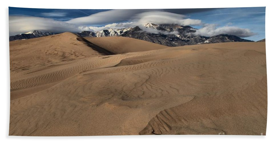 Great Sand Dunes National Park Hand Towel featuring the photograph Ripples Dunes And Clouds by Adam Jewell