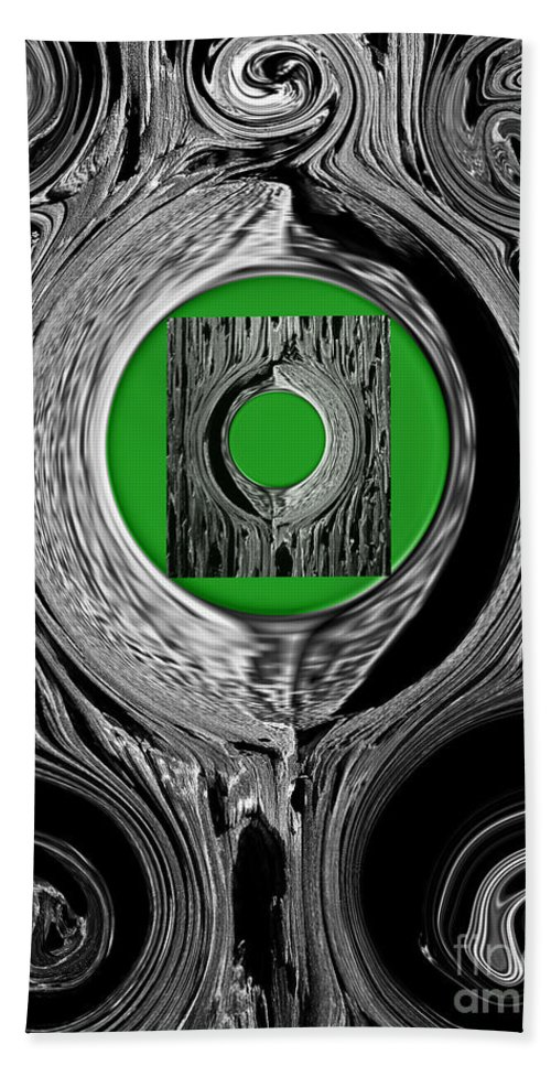 Abstract Hand Towel featuring the digital art Ripples Of The Green by Fei A