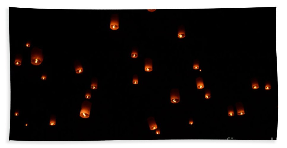 Rise Bath Sheet featuring the photograph Rise Festival Lanterns 2014 Horizontal Sky Only Number One by Heather Kirk