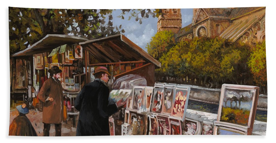Paris Hand Towel featuring the painting Rive Gouche by Guido Borelli