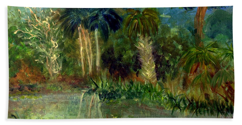 Blue Hand Towel featuring the painting River At Riverbend Park In Jupiter Florida by Donna Walsh