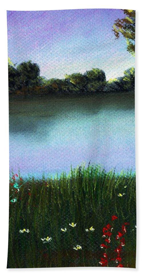 Calm Hand Towel featuring the painting River Bank by Anastasiya Malakhova
