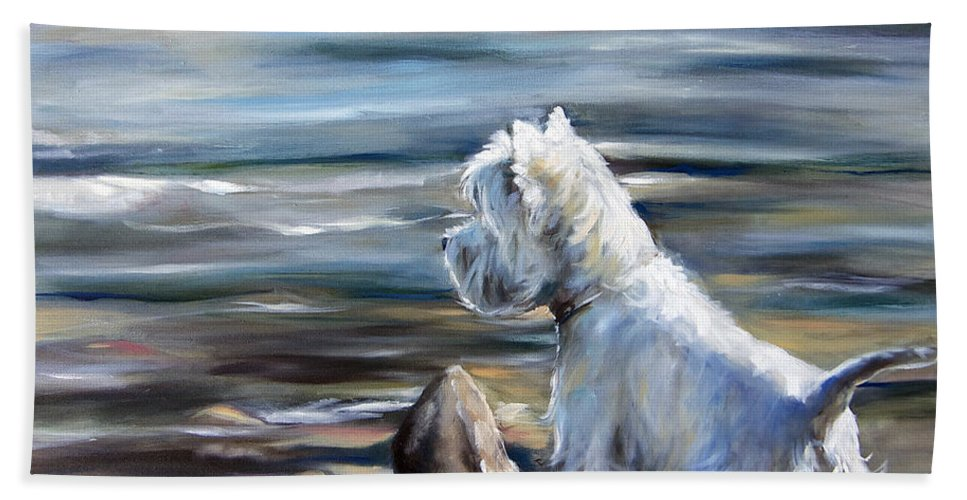 Westie Hand Towel featuring the painting River Boy by Mary Sparrow