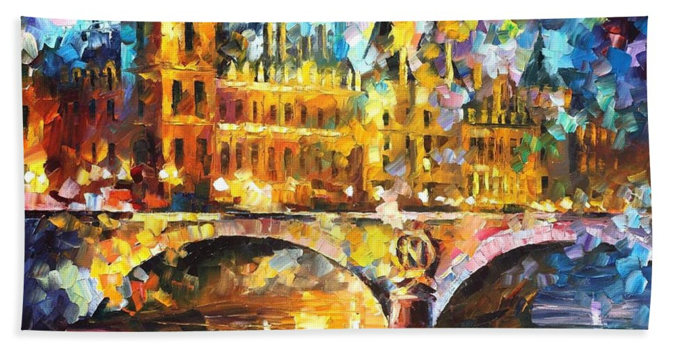 Oil Paintings Bath Sheet featuring the painting River City - Palette Knife Oil Painting On Canvas By Leonid Afremov by Leonid Afremov