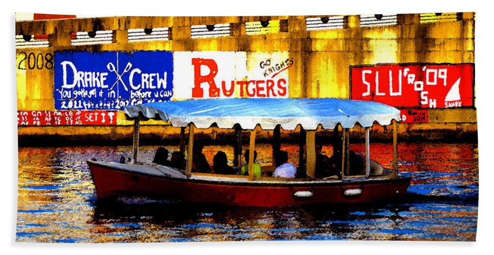Art Bath Sheet featuring the painting River Cruise by David Lee Thompson