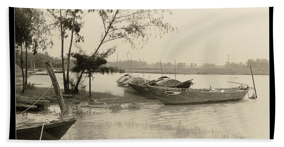 Fishing Boat Hand Towel featuring the photograph River Fishing Boats In Hoi An by Weston Westmoreland