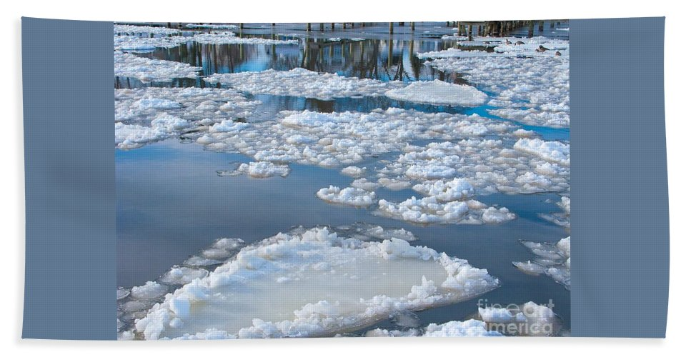 Ice Bath Sheet featuring the photograph River Ice by Ann Horn