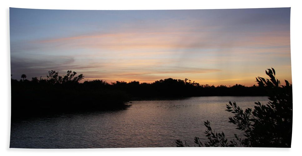 Sunset Hand Towel featuring the photograph River In The Eveninglight - Sanibel Island by Christiane Schulze Art And Photography