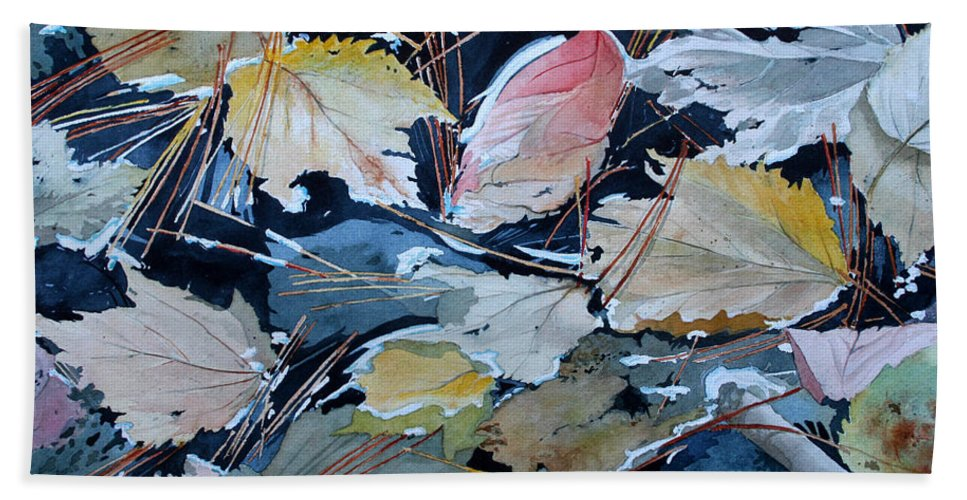 River Bath Sheet featuring the painting River Leaves by Jim Gerkin