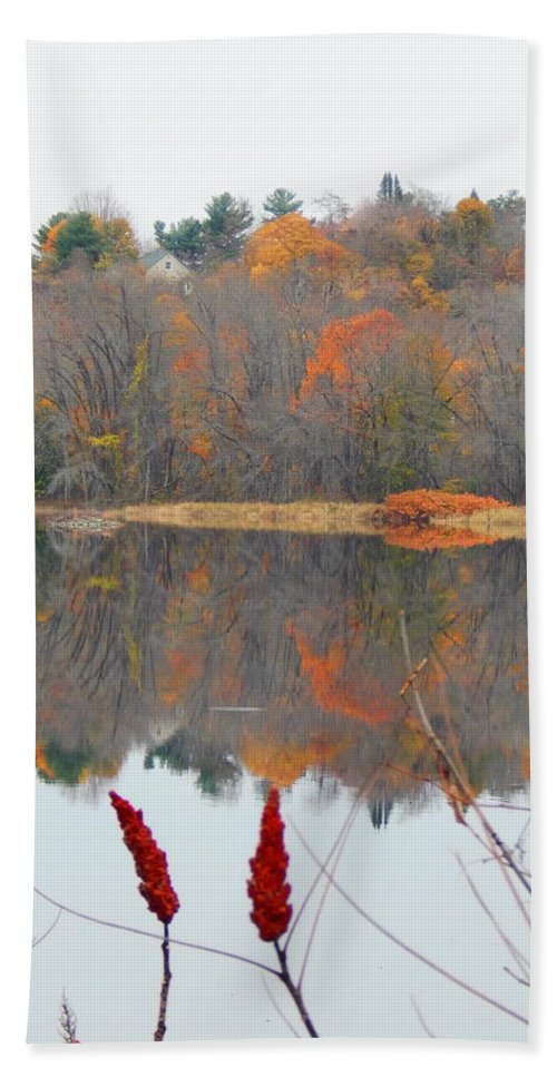 Autumn Foliage Bath Sheet featuring the photograph River Mirror Autumn by Expressionistart studio Priscilla Batzell
