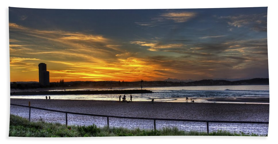 Gold Coast Hand Towel featuring the photograph River Mouth At Sunset by Darren Burton