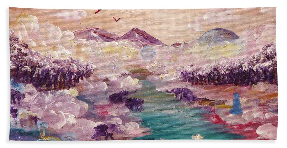 Nature Bath Sheet featuring the painting River Of Light by Ashleigh Dyan Bayer