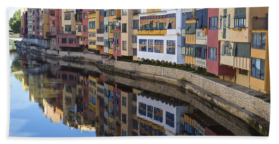 Girona Bath Sheet featuring the photograph River Onyar Girona Spain by Christopher Rees