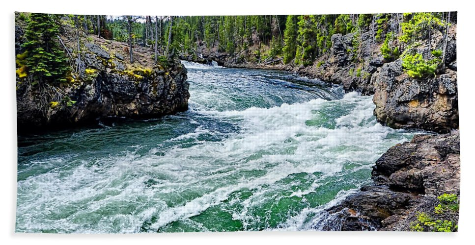 Yellowstone National Park Bath Sheet featuring the photograph River Power by Jon Berghoff