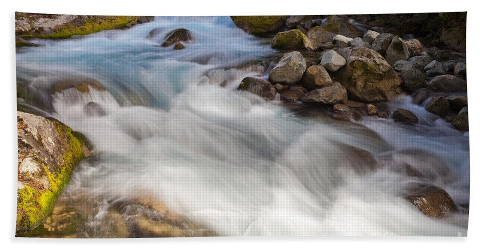 Cascade Bath Sheet featuring the photograph River Rapids Washing Over Rocks With Silky Look by Stephan Pietzko