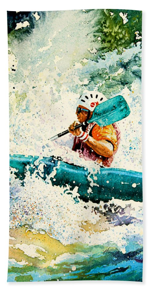 Kayaking Bath Sheet featuring the painting River Rocket by Hanne Lore Koehler