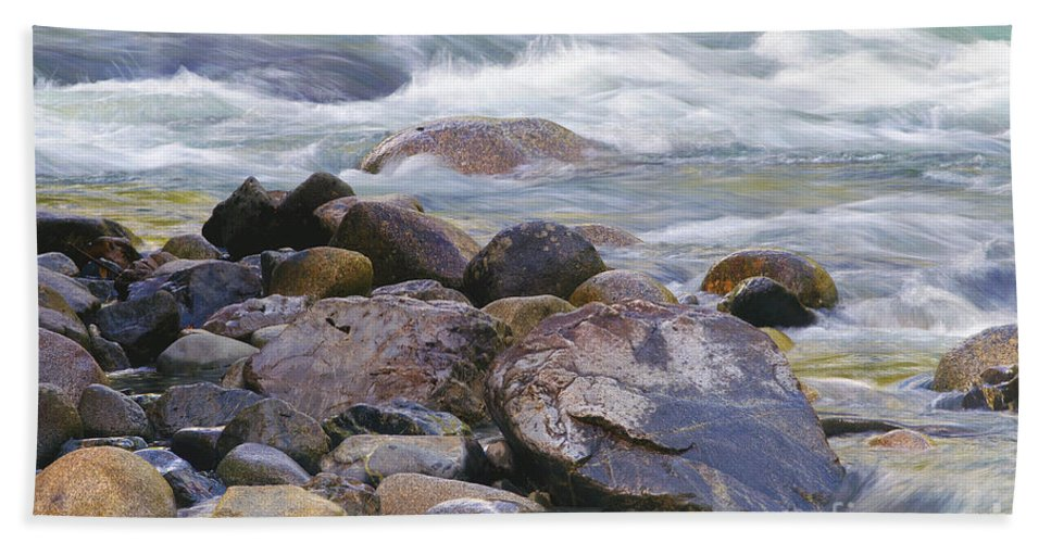 River Rocks Hand Towel featuring the photograph River Rocks by Sharon Talson