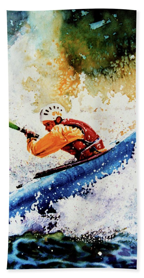 Sports Art Bath Sheet featuring the painting River Rush by Hanne Lore Koehler
