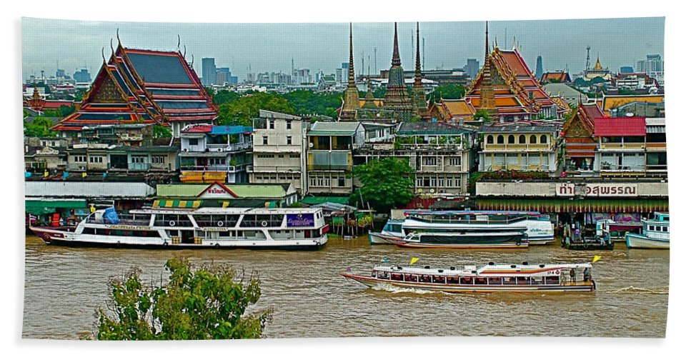 River View From Temple Of The Dawn Hand Towel featuring the photograph River View Fromtemple Of The Dawn/wat Arun In Bangkok-thailand by Ruth Hager