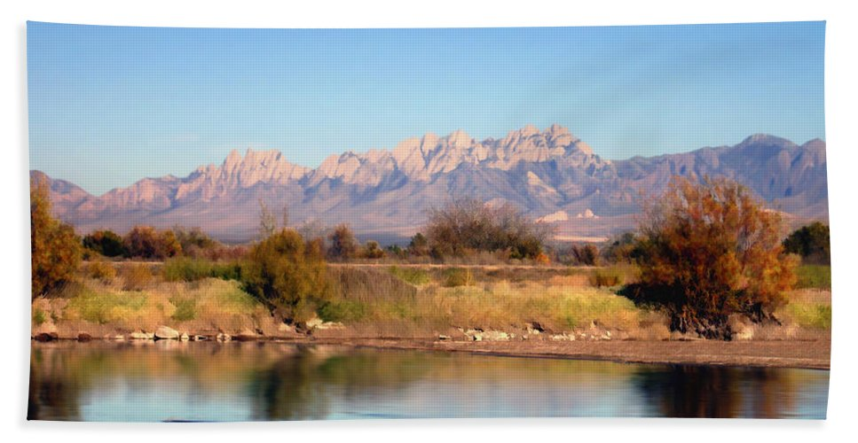 River Hand Towel featuring the photograph River View Mesilla by Kurt Van Wagner