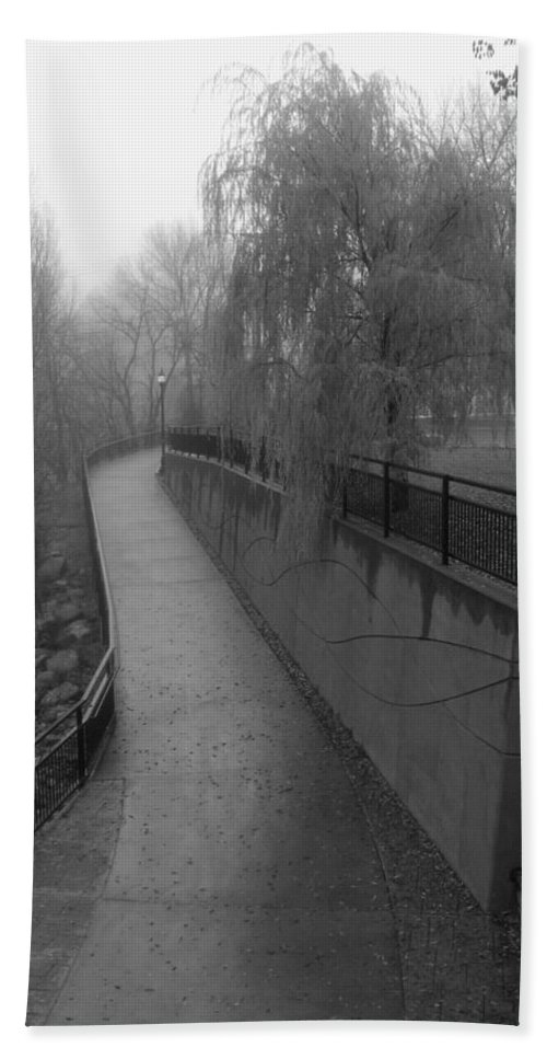 Black & White Photography Hand Towel featuring the photograph River Walk by Kirk Griffith