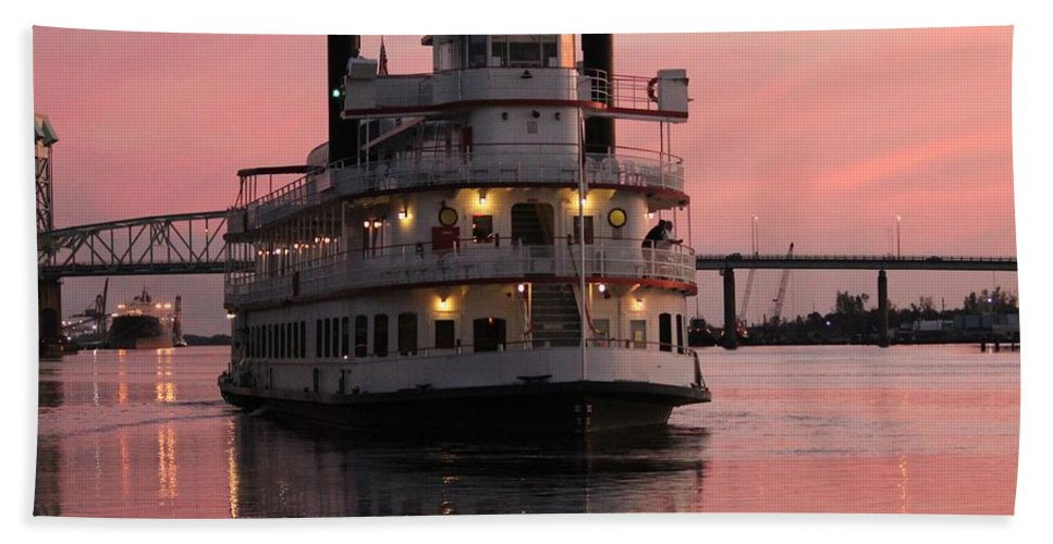 Riverboat Hand Towel featuring the photograph Riverboat At Sunset by Cynthia Guinn
