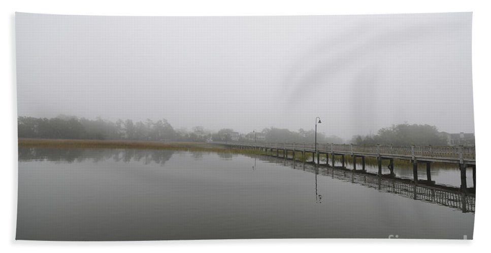 Fog Hand Towel featuring the photograph Rivertowne Fog by Dale Powell