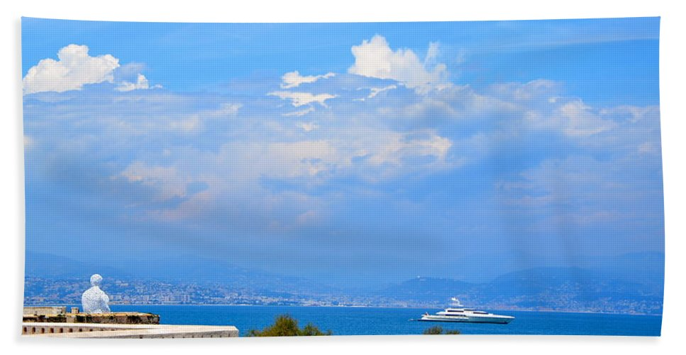 Riviera Bath Sheet featuring the photograph Riviera Blues by Corinne Rhode
