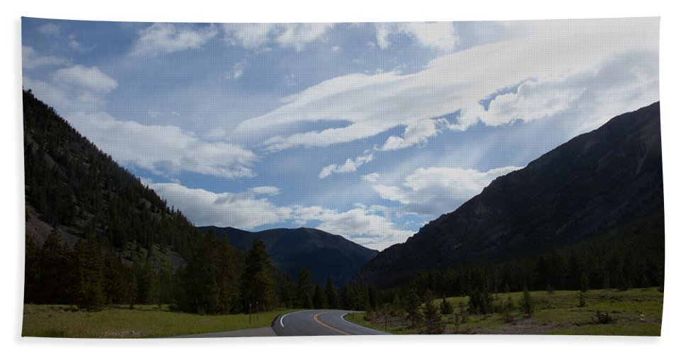 Absaroka Mountains Bath Sheet featuring the photograph Road Through The Mountains by Scott Sanders