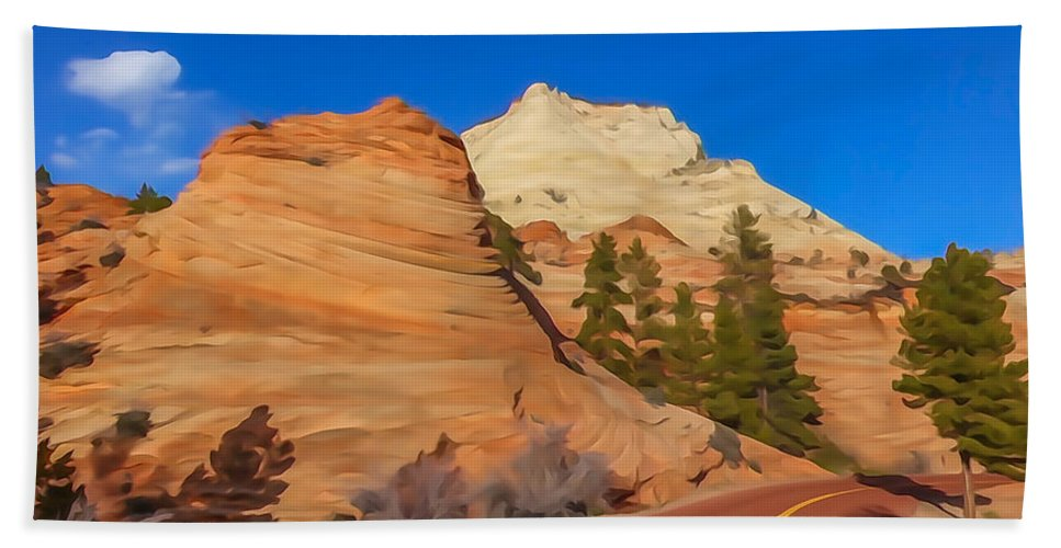 Zion Hand Towel featuring the photograph Road Through Zion Np by Tom and Pat Cory