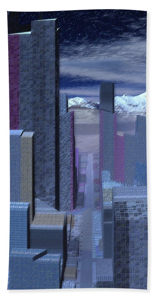 City Hand Towel featuring the digital art Road To Nowhere by Judi Suni Hall