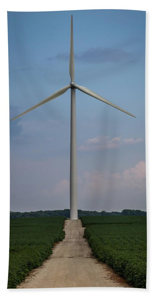 Alternative Energy Hand Towel featuring the photograph Road To The Windmill by Ron Pate