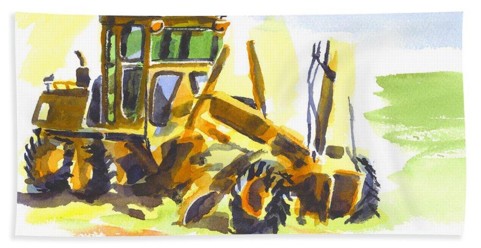 Roadmaster Tractor In Watercolor Bath Sheet featuring the painting Roadmaster Tractor In Watercolor by Kip DeVore