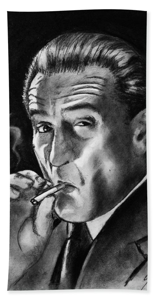 Wallpaper Buy Art Print Phone Case T-shirt Beautiful Duvet Case Pillow Tote Bags Shower Curtain Greeting Cards Mobile Phone Apple Android Robert De Niro Sketch Charcoal Pencil Drawing Goodfellas Hollywood Movies Expressionism Mafia Gangster Lighting Cigarette Sinister Salman Ravish Khan Black And & White Actor Casino Mob Boss Hand Towel featuring the drawing Robert De Niro by Salman Ravish