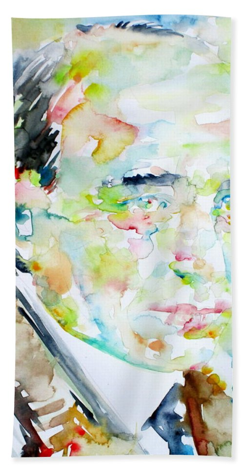 Robert Musil Hand Towel featuring the painting Robert Musil - Watercolor Portrait by Fabrizio Cassetta