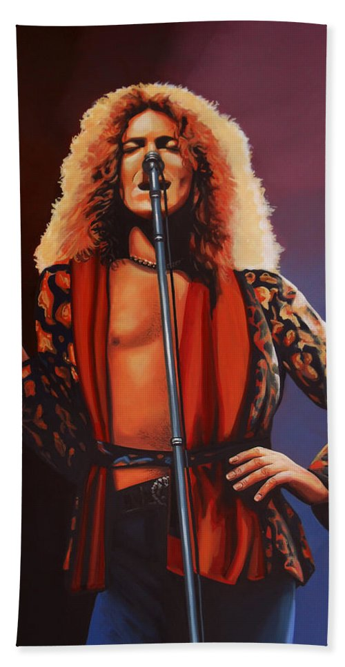 Robert Plant Bath Towel featuring the painting Robert Plant 2 by Paul Meijering