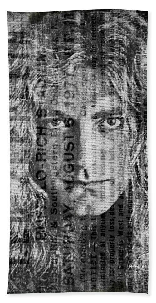 Robert Plant Bath Sheet featuring the digital art Robert Plant - Led Zeppelin by Absinthe Art By Michelle LeAnn Scott