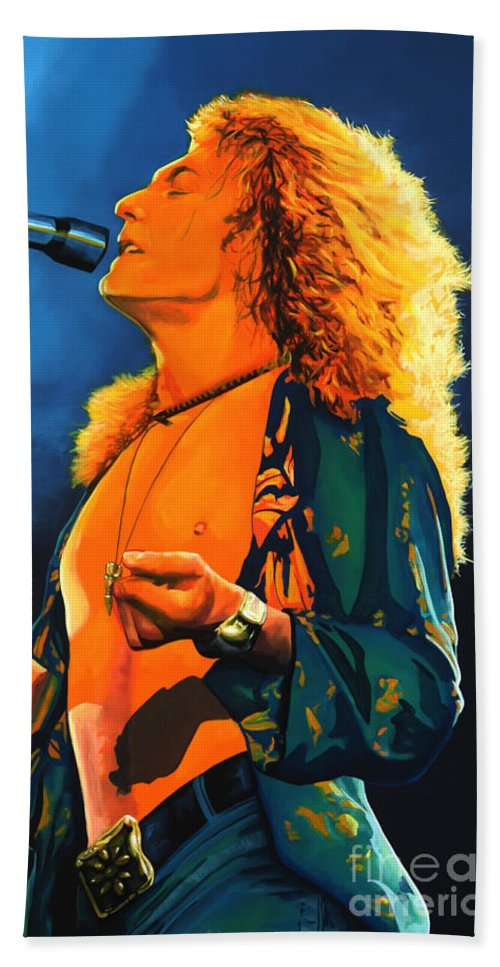 Robert Plant Hand Towel featuring the painting Robert Plant by Paul Meijering