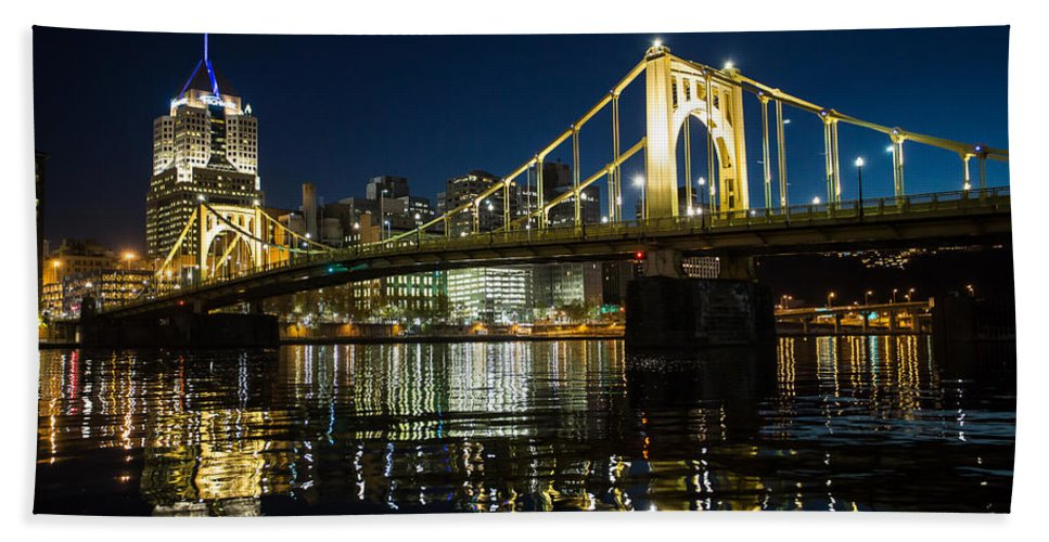 Pittsburgh Night Alley Skyline Dirty Black And White Pa. Pennsylvania Jimmy Taaffe Urban Rough Ruff Photographs Hand Towel featuring the photograph Roberto Clemente by Jimmy Taaffe