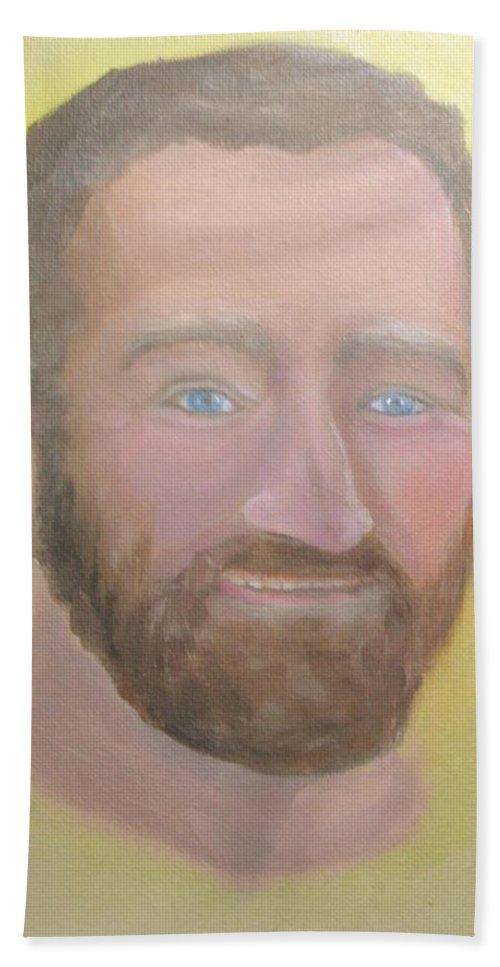 Robin Williams Bath Sheet featuring the painting Robin Williams 1 by Liz Snyder