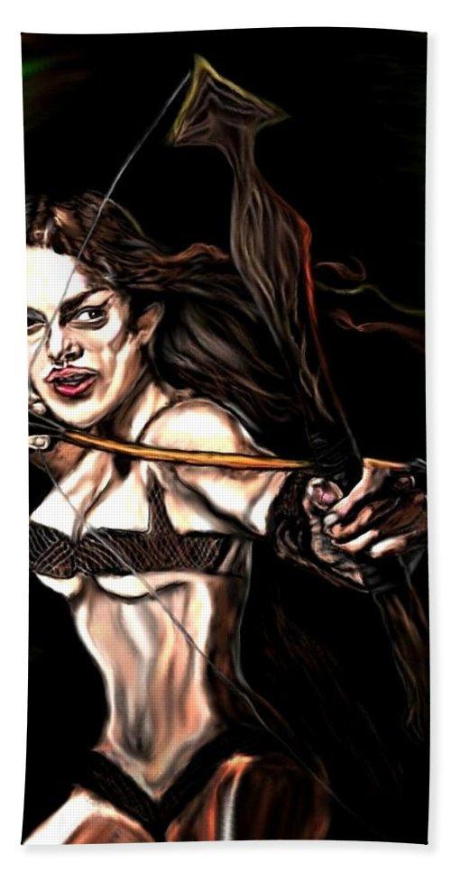 Robin Hood Bath Sheet featuring the painting Robyn Hood by Herbert Renard