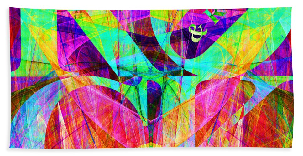 Abstract Bath Towel featuring the digital art Rock And Roll 20130708 Fractal by Wingsdomain Art and Photography