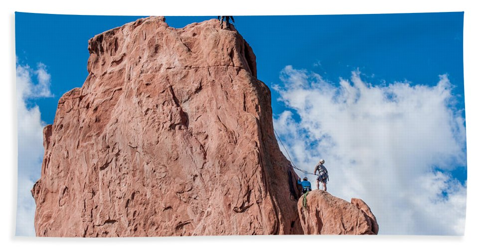 Abseiling Hand Towel featuring the photograph Rock Climbing by Amel Dizdarevic