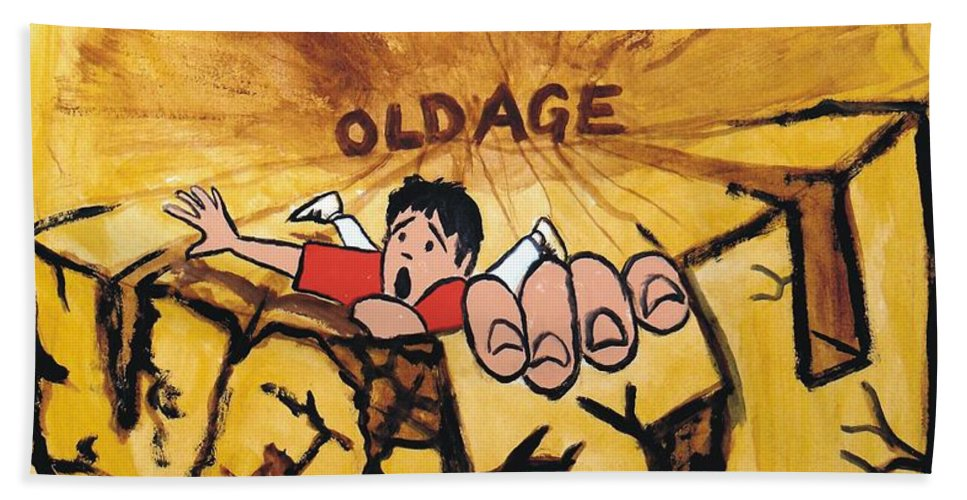 Mike Hand Towel featuring the painting Rock Climbing Cartoon by Mike Jory