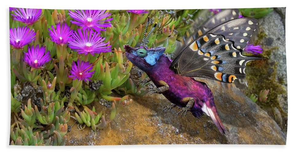 Rock Hand Towel featuring the digital art Rock Flower Birguana Fly by Arthur Fix