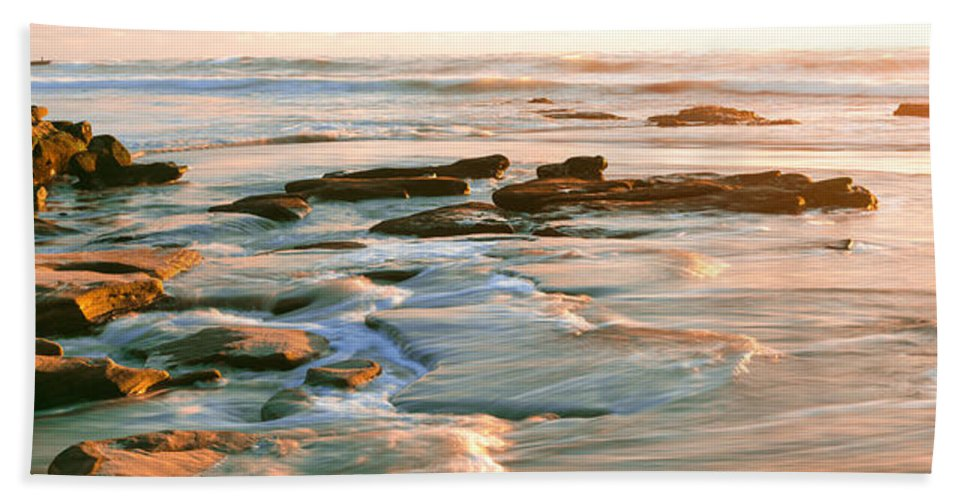 Photography Bath Sheet featuring the photograph Rock Formations At Windansea Beach, La by Panoramic Images
